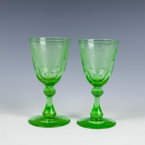 Pair of Victorian Engraved Uranium Wine Glasses c1880