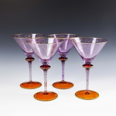 Four Very Large Deco Martini Or Coctail Glasses