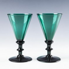 Pair of Victorian Bristol Green Wine Glasses c1890