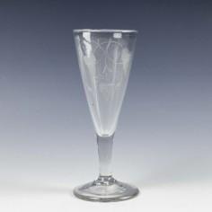 Engraved Plain Stemmed Georgian Ale Glass c1750