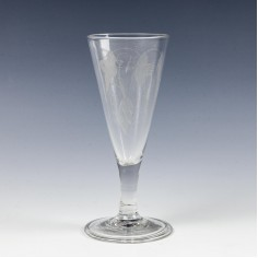Engraved Georgian Ale Glass with Folded Foot