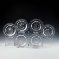 Six Victorian Glass Ice Plates c1890