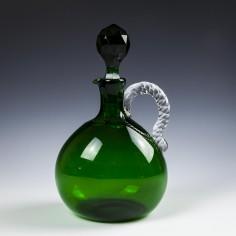 Victorian Green Bocksbeutel Decanter c1875