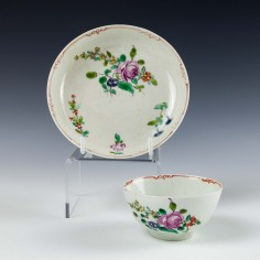 Liverpool Philip Christian Rose Pattern Teabowl and Saucer c1768