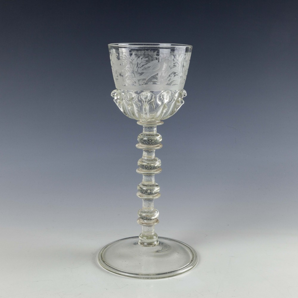 17th Century Engraved Bohemian Spiked Gadrooned Wine Glass