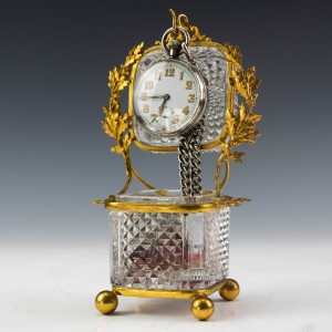 Very Rare Baccarat Ormolu Mounted Watch Stand Or Jewellery Casket c1890