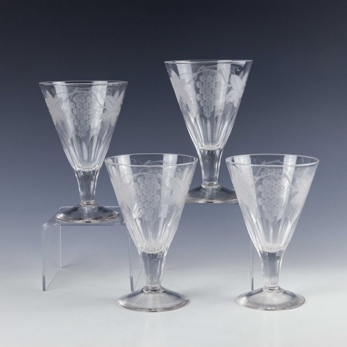 Four Engraved Rummer Glasses c1900