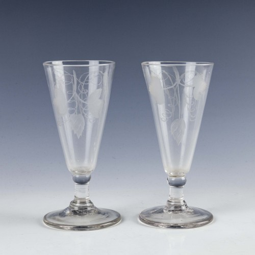 Pair of 18th Century Engraved Ale Glasses c1765