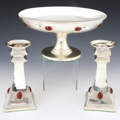Arts and Crafts Style Silver Plated Garniture
