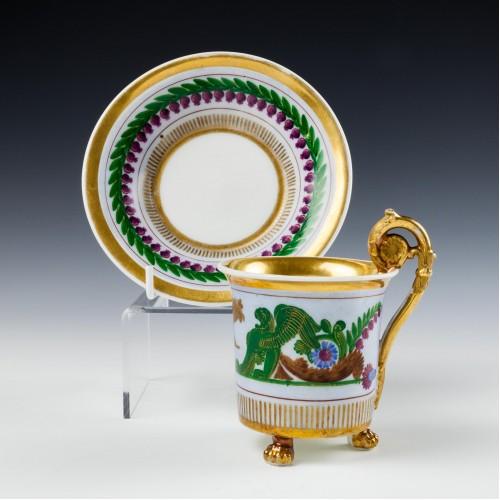 A Neoclassical Paris Porcelain Cup and Saucer c1830