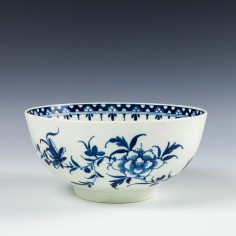 First Period Worcester Peony Pattern Slop Bowl c1770