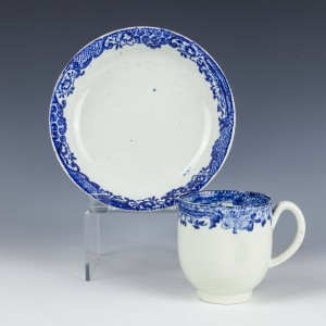 Liverpool Seth Pennington Blue and White Border Pattern Coffee Cup and Saucer c1787