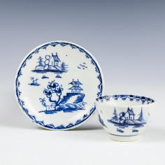 Very Rare Lowestoft Porcelain Toy Teabowl and Saucer c1766