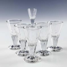 Set Six Victorian Gin Glasses  c1880