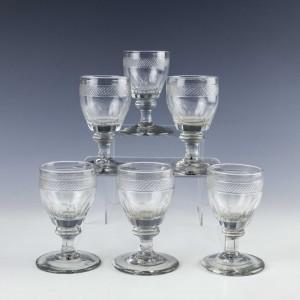 Set of Six Regency Dram Glasses c1830
