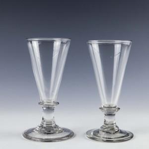 Two Georgian Plain Stemmed Ale Glass c1790