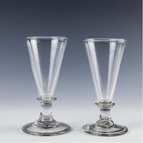 Two Georgian Plain Stemmed Ale Glass c1790