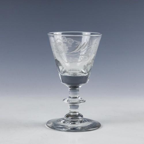 Engraved Bucket Bowl Dram Glass c1830