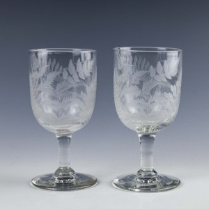 Pair of Victorian Engraved Wine Goblets c1860