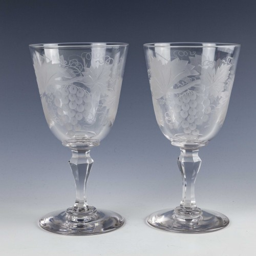 Pair Victorian Engraved Wine Goblets c1890