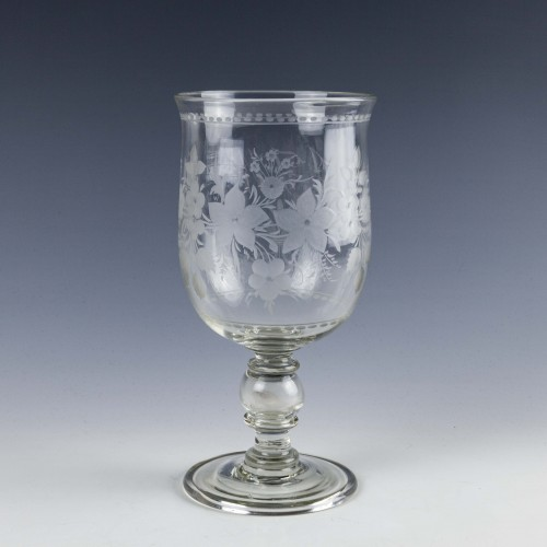 Victorian Coin Glass Goblet c1870