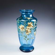 Tall Enamelled Turquoise Glass Vase c1885