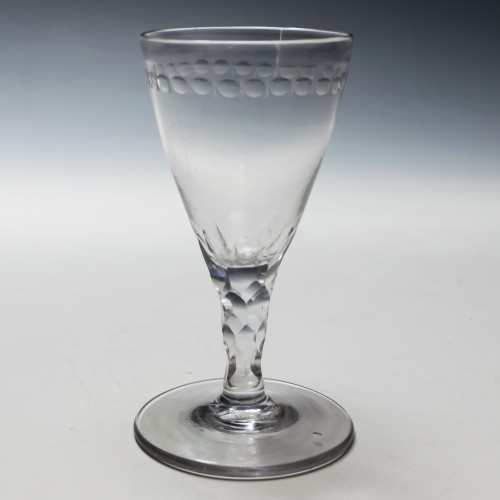 An OXO Engraved Facet CUt Stem Port Glass c1780
