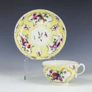 Very Rare First Period Worcester Yellow Scale Tea Cup and Saucer c1770