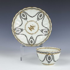 Rare Worcester Teabowl and Saucer c1768