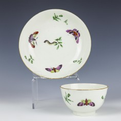 Rare First Period Worcester Teabowl and Saucer c1770