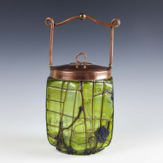 Pallme-Konig Green Veined Biscuit Barrel c1900