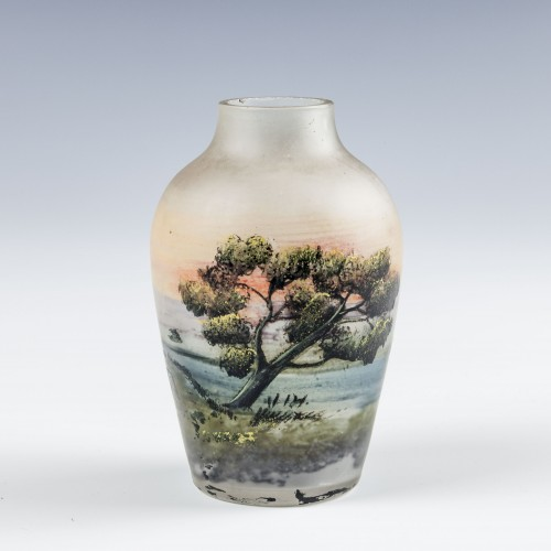 French Reverse Painted and Enamelled Miniature Vase c1910
