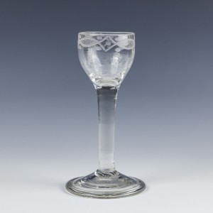 Neoclassical Engraved 18th Century Plain Stem Wine Glass c1770