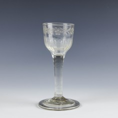 Engraved Georgian Plain Stem Wine Glass c1750