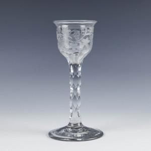 Engraved Georgian Facet Cut Wine Glass c1770