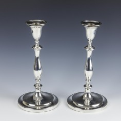 Pair Sterling Silver Georgian Candlesticks Sheffield 1792