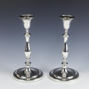 Pair Sterling Silver Georgian Candlesticks Sheffield 1792