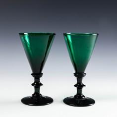 Pair Bristol Green Wine Glasses c1820