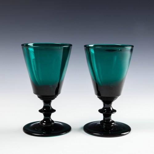 Pair Rare Peacock Blue Wine Glasses c1840