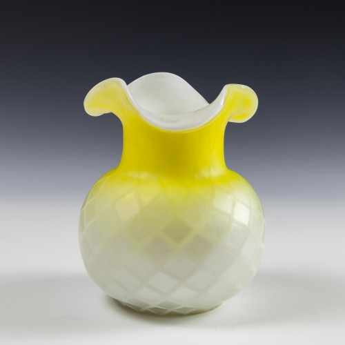 A Thomas Webb Quilted Satin Glass Vase c1885