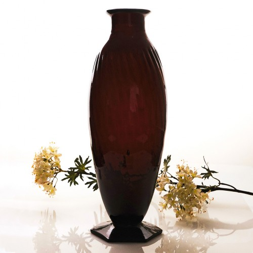 Very Tall Andre Delatte Amethyst Vase c1925