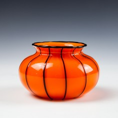 Loetz Glass Michael Powolny Tango Orange  Black Ribbed Bowl c1915