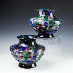 A Pair of Kralik Austria  Jungendstil Polychrome Spatter Vases c 1930