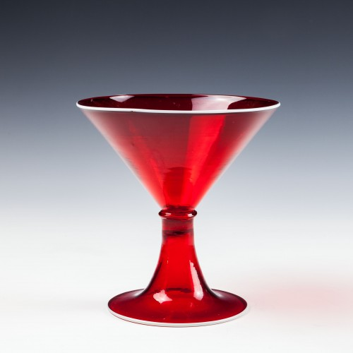 A Cappellini Or Salviati Red Cocktail Glass with Applied White Rim - c 1920
