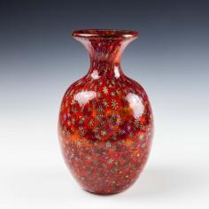 Murano Glass Red Millefiori Bottle Vase c1950