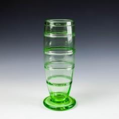Ludwig Kny for Stuart Crystal Green Art Deco Vase c1935 Pattern 26542