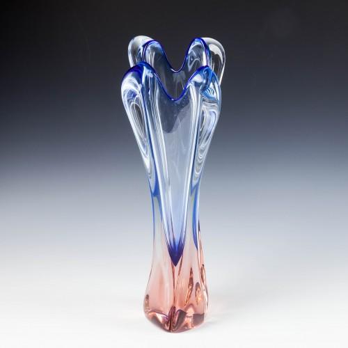 A Tall Rudolf Beranek for Skrdlovice  Topaz Blue Vase c1950