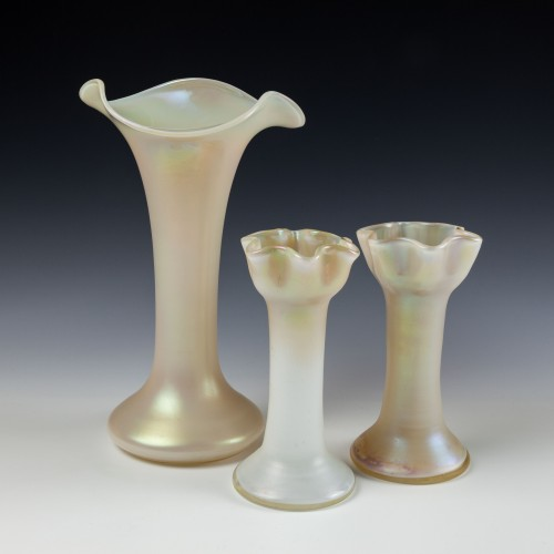 A Garniture of Kralik Satin White Iridised Vases c1930