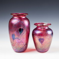 Two Signed Okra Glass Arum Vases from 1989