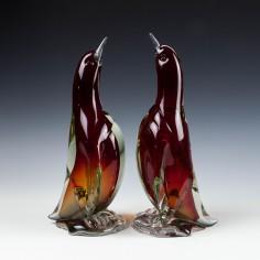 Rare Pair Large Alfredo Barbini Penguins c1960